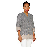 Liz Claiborne New York 3/4 Sleeve Border Print Tunic - A262175