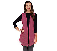 LOGO by Lori Goldstein Slub Knit Vest with Embroidery and Chiffon Hem - A263275
