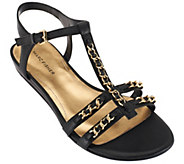 Marc Fisher Leather T-strap Sandals w/ Ankle Strap - Padalis - A264675