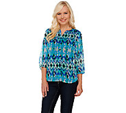 Liz Claiborne New York 3/4 Sleeve Printed Blouse - A266175