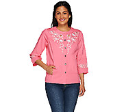 Bob Mackies 3/4 Sleeve Embroidered and Cut Out Jacket - A266375