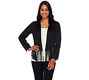 Bob Mackies Faux Suede Open Front Fringe Jacket - A268375