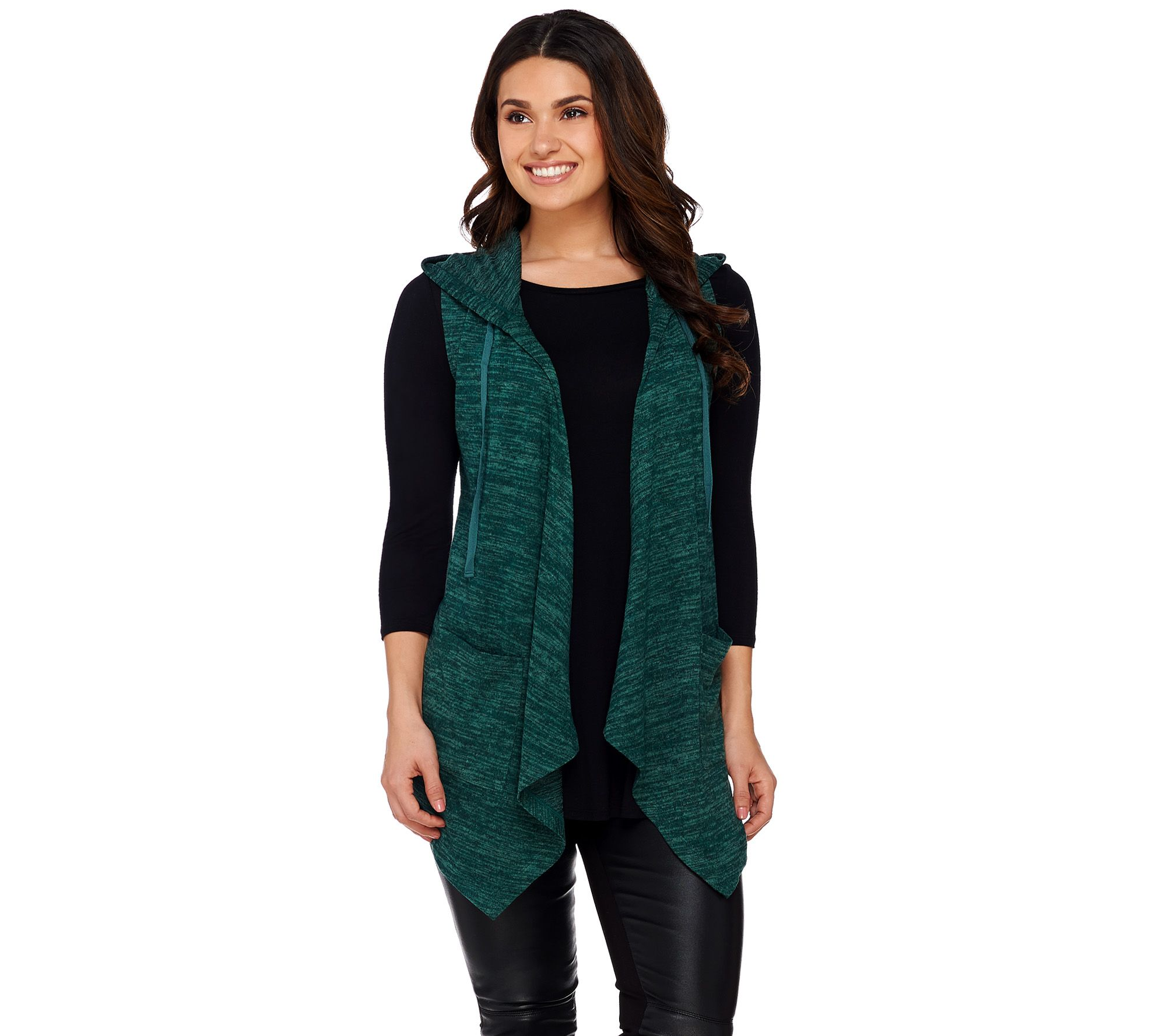LOGO by Lori Goldstein Sweater Knit Hooded Vest with Pockets ...
