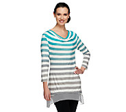 As Is LOGO by Lori Goldstein Ombre Striped Knit Top with Chiffon Trim - A271675