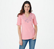 Quacker Factory Rhinestone Swirl Scalloped Elbow Sleeve T-shirt - A273875