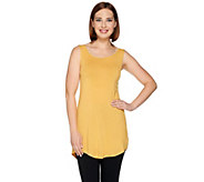 LOGO Layers by Lori Goldstein Knit Tank with Lace Trim Scoop Neck - A274975