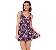 Denim & Co Beach Ruched Flounce Swim Dress - A275175