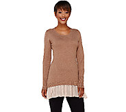 As Is LOGO by Lori Goldstein Cotton Cashmere Sweater with Chiffon Trim - A275375