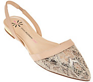 As Is Isaac Mizrahi Live! Leather and Snake Print Flats - A283575
