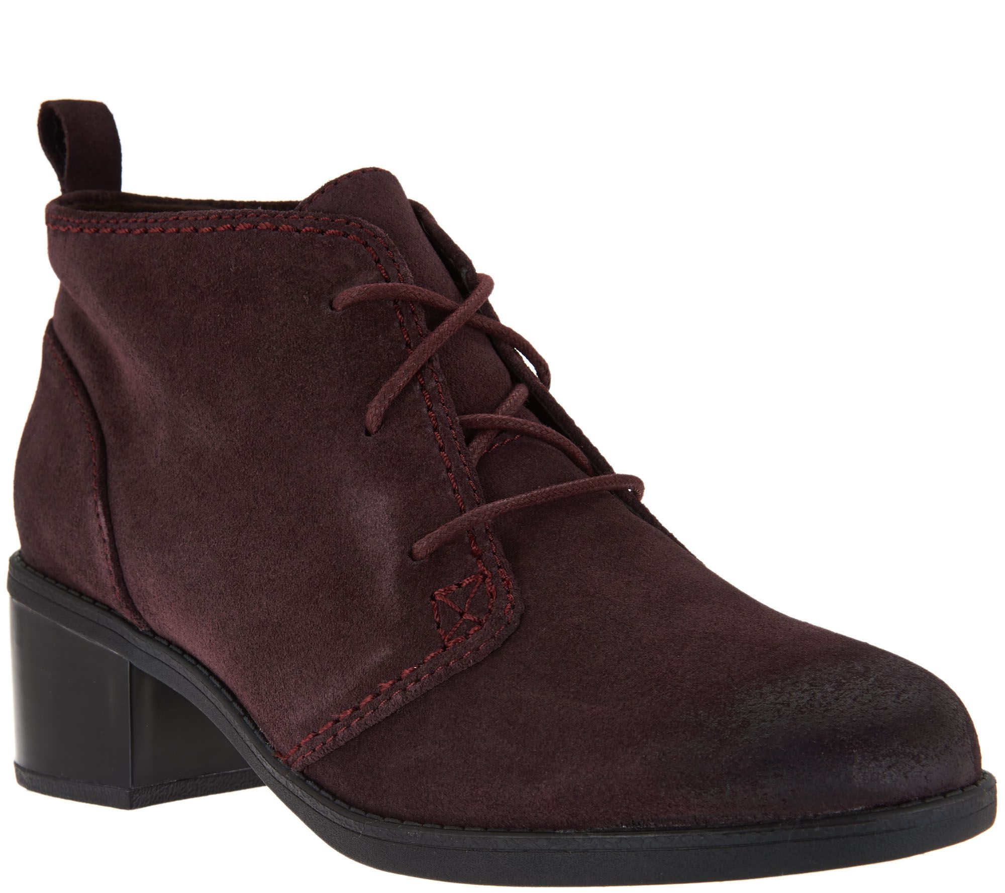 clarks leather or suede lace up ankle boots nevella