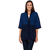 As Is Aran Craft Wool Elbow Sleeve Zip Front Cardigan - A283875