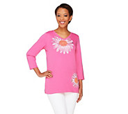 As Is Quacker Factory Oops-a- Daisy 3/4 Sleeve T-shirt - A284975