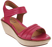 As Is Clarks Leather Quilted Strap Wedge Sandals - Hazelle Alba - A285075