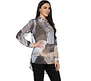 Susan Graver Printed Sheer Chiffon Shirt with Hi-Low Hem - A290775
