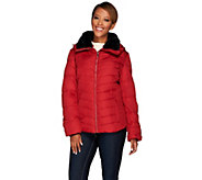As Is Dennis Basso Water Resistant Quilted Puffer Faux FurCollar - A291275