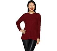 H by Halston Crewneck Directional Rib Peplum Sweater - A297075