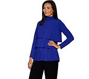 Every Day by Susan Graver Liquid Knit Mock Neck Tiered Top - A297675