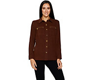 Bob Mackies Mole Skin Button Front Shirt with Zipper Pocket - A298675