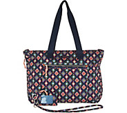 As Is Vera Bradley Lighten Up Expandable Tote with ID Case & Lanyard - A305175