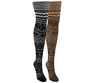 MUK LUKS Womens 2-Pair Pack Patterned Microfib er Tights - A330975