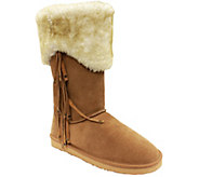 Lamo Tall Fur Cuff Suede Leather Boots - Hoodoo - A338675