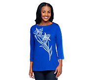 Bob Mackies Embroidered Floral 3/4 Sleeve T-shirt Series - A92175