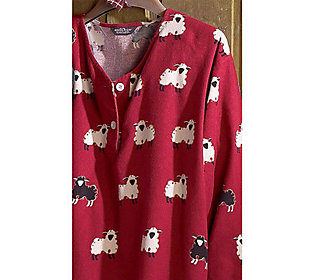 Woolrich womens printed flannel v neck nightshirt for Womens flannel night shirts