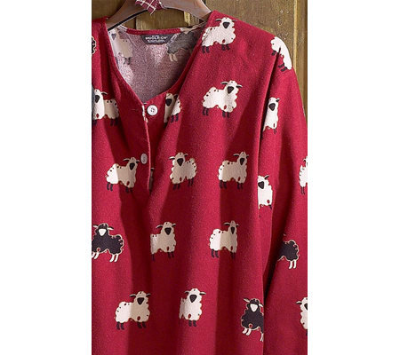 Woolrich women 39 s printed flannel v neck nightshirt for Womens flannel night shirts