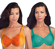 Breezies Set of 2 Lace Eclipse Underwire Bras with UltimAir - A203576