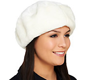 Dennis Basso Faux Fur Fully Lined Beret with Elastic Band - A211476