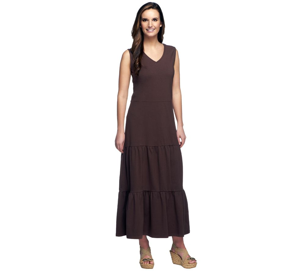 Denim & Co. Solid Tiered V-neck Knit Maxi Dress - Page 1 — QVC.com