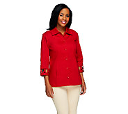 Denim & Co. 3/4 Sleeve Stretch Twill Shirt Jacket w/ Lattice Trim - A214076