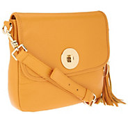 As Is Isaac Mizrahi Live! Bridgehampton Leather Crossbody - A234376