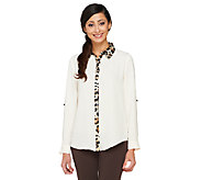 George Simonton Blouse with Animal Print Trim & Roll Tab Sleeves - A236276