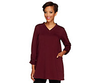 As Is Susan Graver French Terry V-neck Tunic w/Ruched Sleeve - A251276