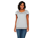 Edge by Jen Rade Short Sleeve Top with Lace - A253976