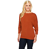 Susan Graver Plush Knit Bateau Neck Dolman Sleeve Sweater - A257976