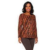 Bob Mackies Sequined and Printed Pullover Top - A260176