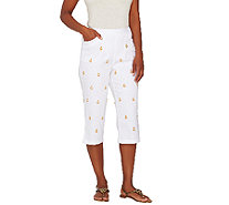 Quacker Factory Good as Gold Embroidered Woven Capri Pant - A263576