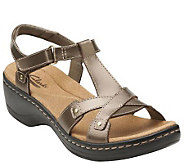 Clarks Leather T-Strap Sandals w/ Back Strap - Hayla Flute - A264576