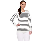 Linea by Louis DellOlio Striped Sweater with Shoulder Button Detail - A265576