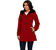 Susan Graver Faux Wool Coat with Velvet Pillow Collar Hood - A268576