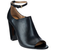 G.I.L.I. Leather Peep Toe Ankle Strap Booties - Preena