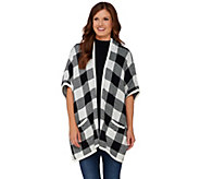 Denim & Co. Plaid Jacquard Open Front Poncho with Pockets - A270176