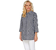 Joan Rivers Gingham Boyfriend Shirt with 3/4 Sleeves - A273676