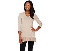 LOGO by Lori Goldstein Heathered Knit Top with Chiffon Trim - A274076