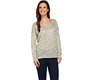 Lisa Rinna Collection Drop Shoulder Space Dyed Linen Top - A274676