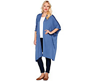 LOGO Layers by Lori Goldstein Open Front Elongated Knit Kimono - A274976
