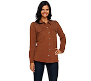 As Is Quacker Factory DreamJeannes Be Jeweled Button Front Shirt - A278176