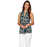 Kelly by Clinton Kelly V-Neck Pleated Front Sleeveless Top - A278476